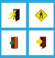 icon flat emergency set of evacuation road sign vector image