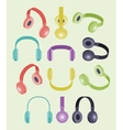 Isometric colored headphones vector image