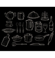Kitchen Utensils on a Chalkboard Background vector image vector image
