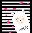 little cute llama with heart for card and shirt vector image vector image