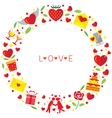 love icons wreath vector image vector image