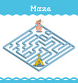 maze education games with three little pigs vector image