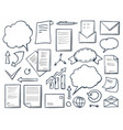 office paper and charts with arrows set vector image vector image