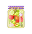 pickled vegetable and spice mix jar and rustic lid vector image