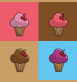 pink muffin with cherry background icon vector image