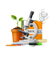 realistic microscope green plant in pot vector image