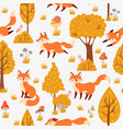 seamless forest foxes pattern cute red fox among vector image vector image