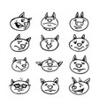 set hand-drawn faces pigs vector image