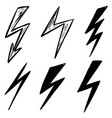 Set hand drawn lightning icons design element