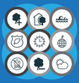 set of 9 eco icons includes delete woods ocean vector image vector image