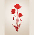 silhouette stems leaves and poppy flowers vector image vector image