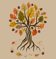 Stylized autumn oak vector image