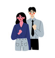 successful man and woman reached goal or vector image vector image