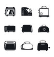 toaster kitchen bread oven icons set simple style vector image