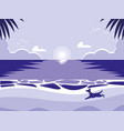 tropical beach with dog mascot vector image vector image