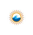 wave sun logo icon design vector image vector image