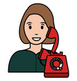 woman calling with telephone vector image