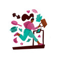 woman on a treadmill runs away from problems girl vector image vector image