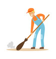 smiling street sweeper at work street cleaner vector image