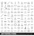 100 fishing icons set outline style vector image vector image