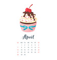 2019 year calendar with cupcake vector image