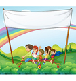 A group of kids under the empty signage vector image vector image