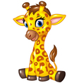 Adorable baby giraffe sitting isolated vector image vector image