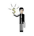 asian businessman with dollar sign in hand vector image vector image