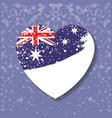 australian flag on heart in light purple vector image vector image