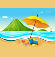 beach scene with umbrella and toys vector image vector image