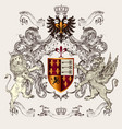 beautiful heraldic design with shield crown vector image vector image