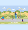 bicycle trip and family summer rest in park vector image