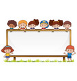 board template with kids in park vector image vector image
