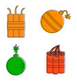 bomb icon set color outline style vector image vector image
