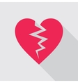 Broken heart flat icon in red color vector image