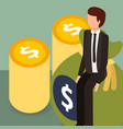 businessman on bag coins dollar money isometric vector image