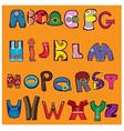 cheerful alphabet in the form of different vector image vector image