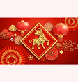 chinese new year 2021 paper lanterns and flower vector image