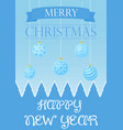 christmas card with greetings and blue vector image vector image