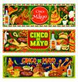 cinco de mayo fiesta sombrero guitar and tequila vector image vector image