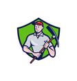 Construction Worker Pickaxe Crest Cartoon vector image vector image
