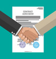 contract agreement paper and handshake vector image vector image
