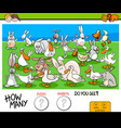 counting ducks and rabbits educational game for vector image