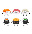 cute cartoon sushi set characters kawaii sushi vector image