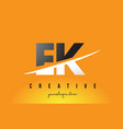 ek e k letter modern logo design with yellow vector image vector image