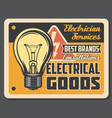 electrician services poster with light bulb vector image vector image