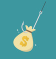 fishhook with money bag vector image