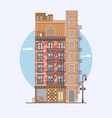 flat design of retro and modern city houses vector image vector image