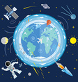 Flat of planet Earth and space icons Astron vector image