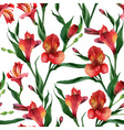 Floral pattern Seamless background Red vector image vector image